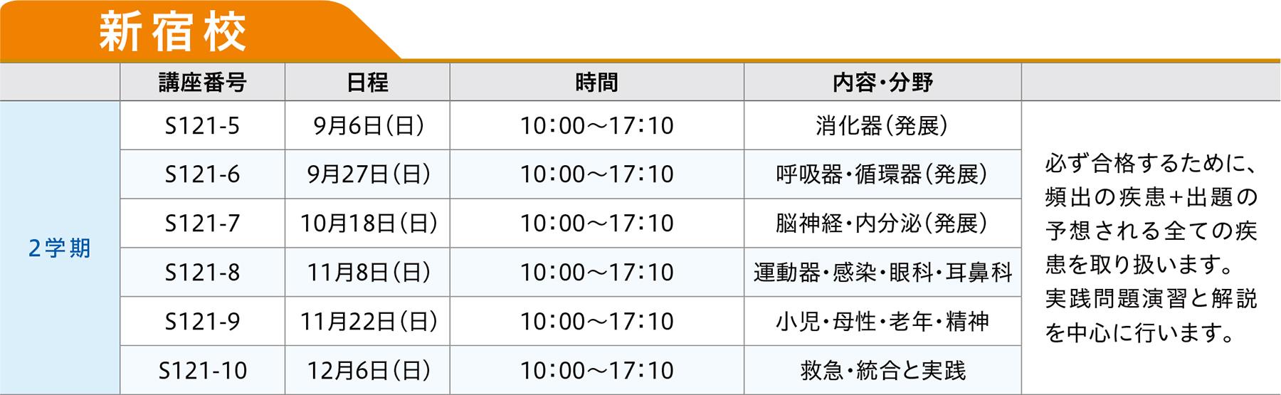 新宿校時間割